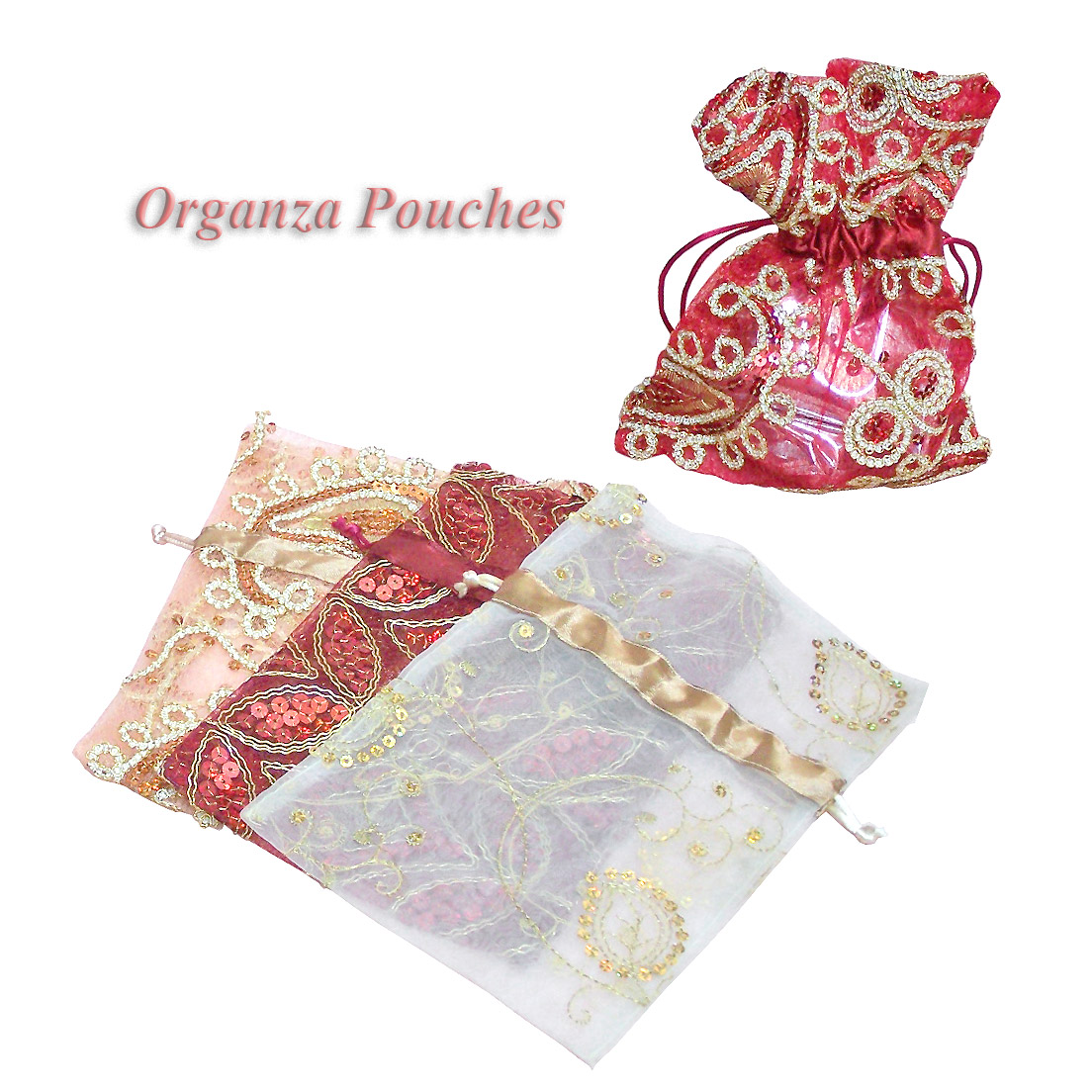 Glittering Organza Pouches 8x12inch Sheer Pouch