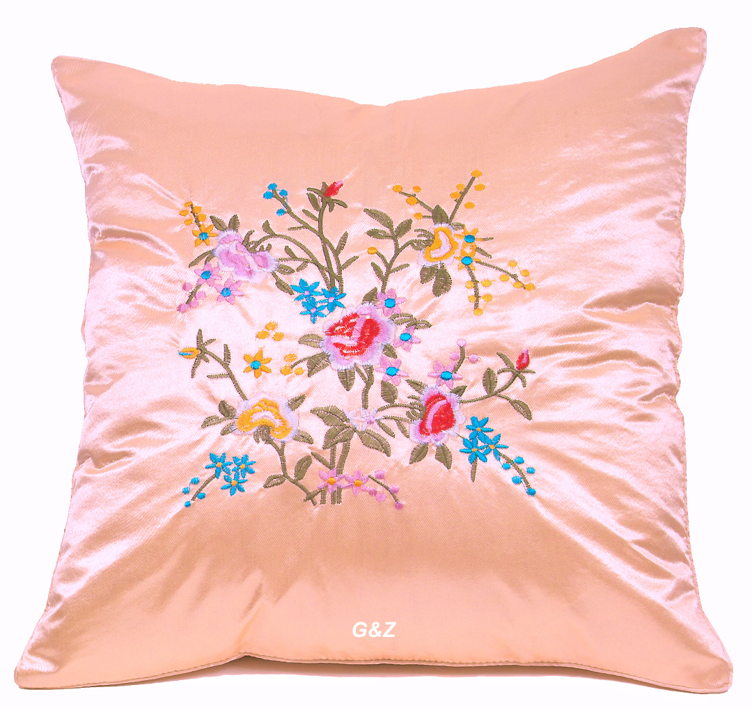 SPCFW - Satin Cushion Covers - Embroidered Floral Design (Peach)