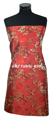 Red-Gold Cherry Blossom Brocade
