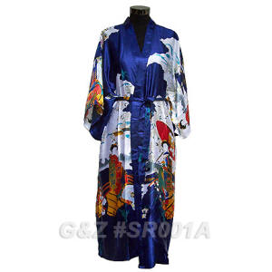 Dark Blue Robes With Japanese Geisha Images
