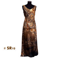 Dark brown leopard print long dresses
