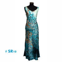 Sky blue leopard print fashion long dresses