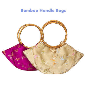 Brocade purses with bamboo handles