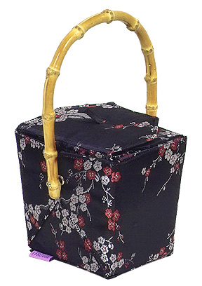 Black/Red+Silver Cherry Blossom Brocade Take Out Box