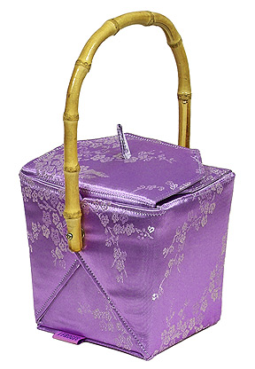 Light Purple/Silver Cherry Blossom Brocade Take Out Box