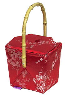 Red/Silver Cherry Blossom Brocade Take Out Box