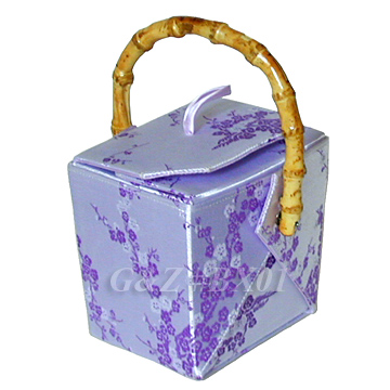 Silver/Light Purple Cherry Blossom Brocade Take Out Box