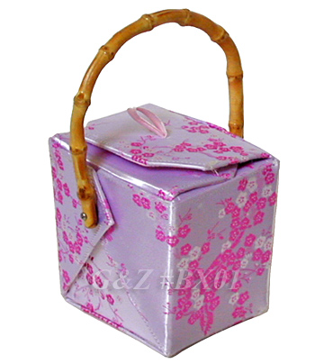 Silver/Light Pink Cherry Blossom Brocade Take Out Box