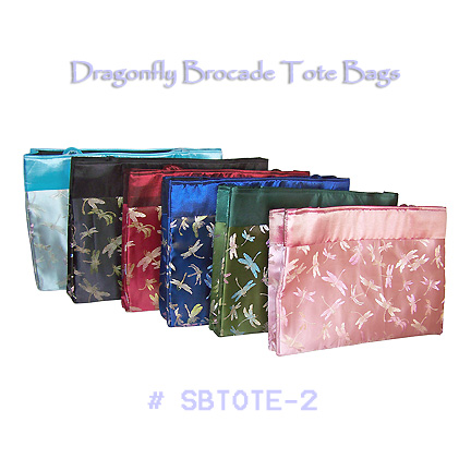 Large dragonfly brocade tote bags