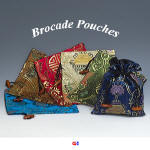 Double fish brocade pouches