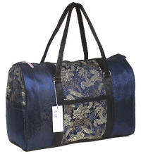 Blue Asian brocade travel bags