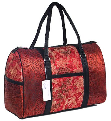 Red/Gold Dragon Brocade Travel Bag