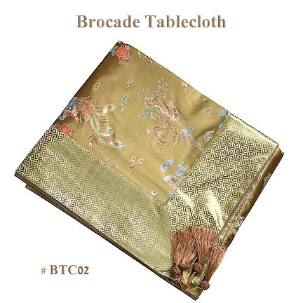 Brown dragon and phoenix brocade tablecloths