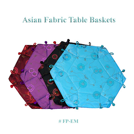 Asian fabric table baskets