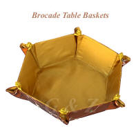 Brown floral table basket