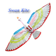 Swan kite with red wings