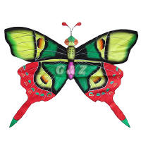 Silk Butterfly Kite - Green Wings w/Red Tails