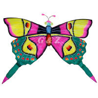 Silk Butterfly Kite - Pink Wings w/Green Tails